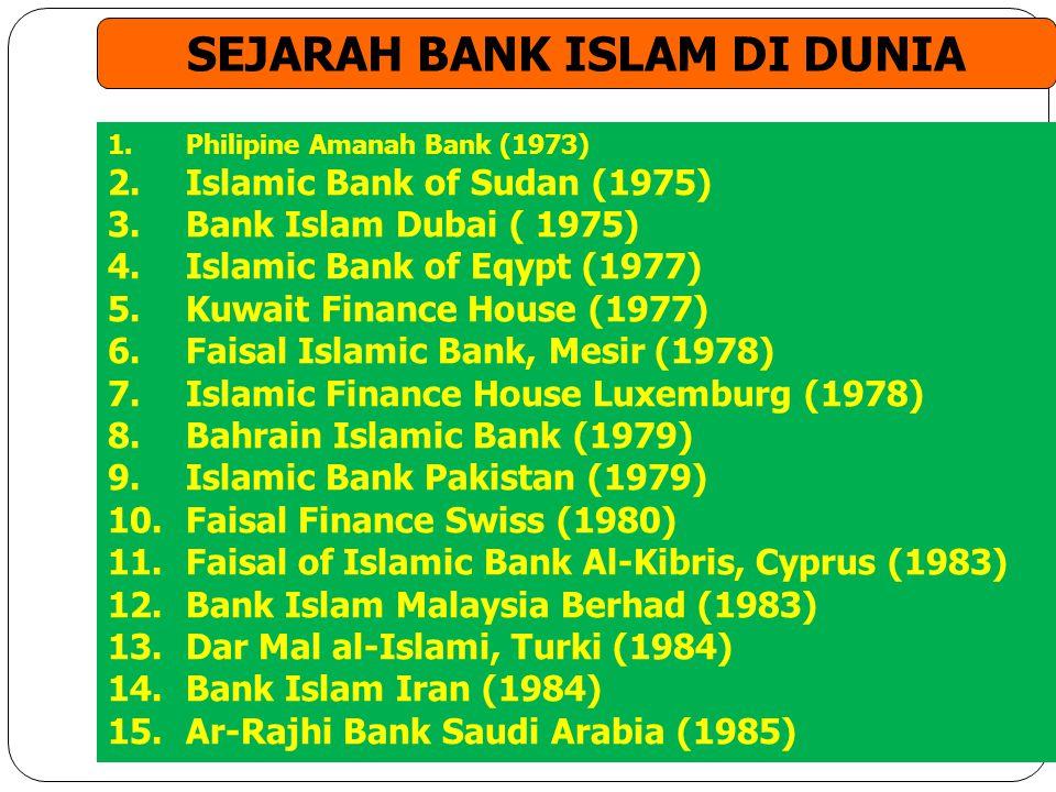 1.Philipine Amanah Bank (1973) 2.Islamic Bank of Sudan (1975) 3.Bank Islam Dubai ( 1975) 4.Islamic Bank of Eqypt (1977) 5.Kuwait Finance House (1977)