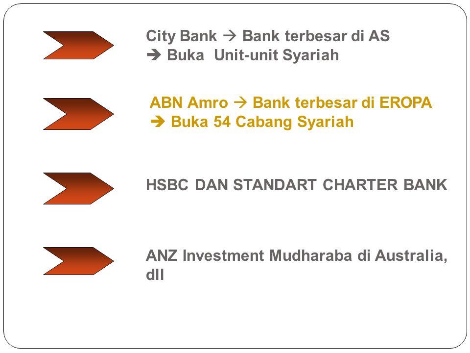City Bank  Bank terbesar di AS  Buka Unit-unit Syariah ABN Amro  Bank terbesar di EROPA  Buka 54 Cabang Syariah ANZ Investment Mudharaba di Austra