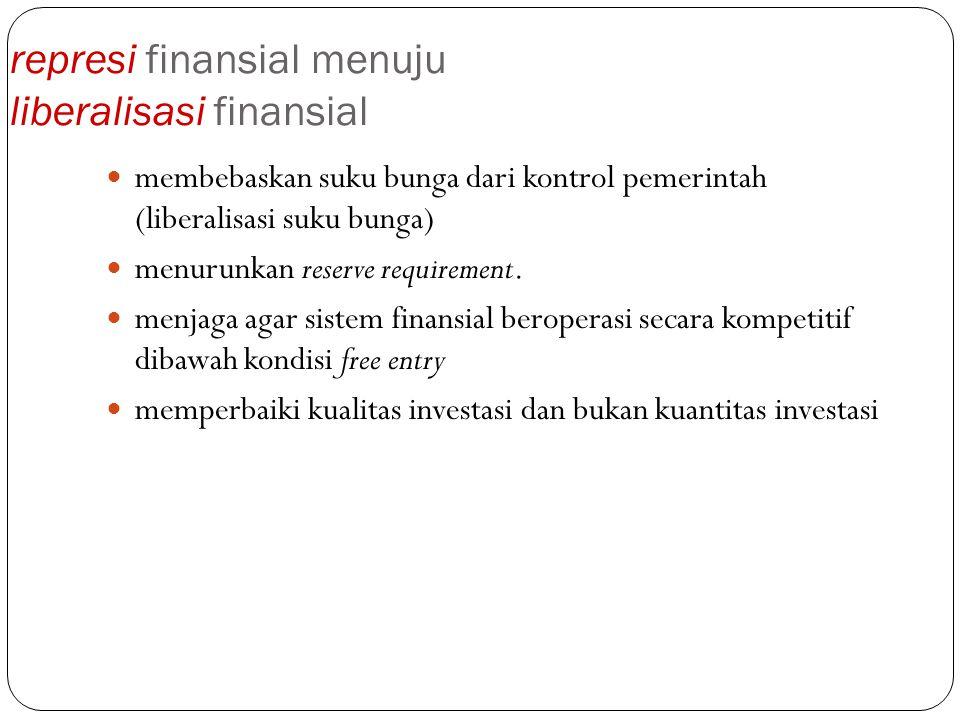 represi finansial menuju liberalisasi finansial membebaskan suku bunga dari kontrol pemerintah (liberalisasi suku bunga) menurunkan reserve requiremen