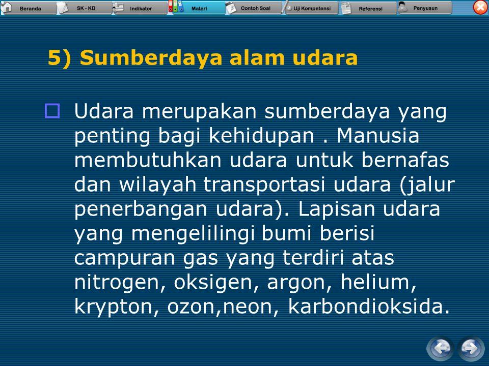 4) Sumberdaya air  Air merupakan sumberdaya yang sangat penting untuk kelangsungan hidup makhluk hidup begitu juga manusia.  Sumberdaya air di Indon