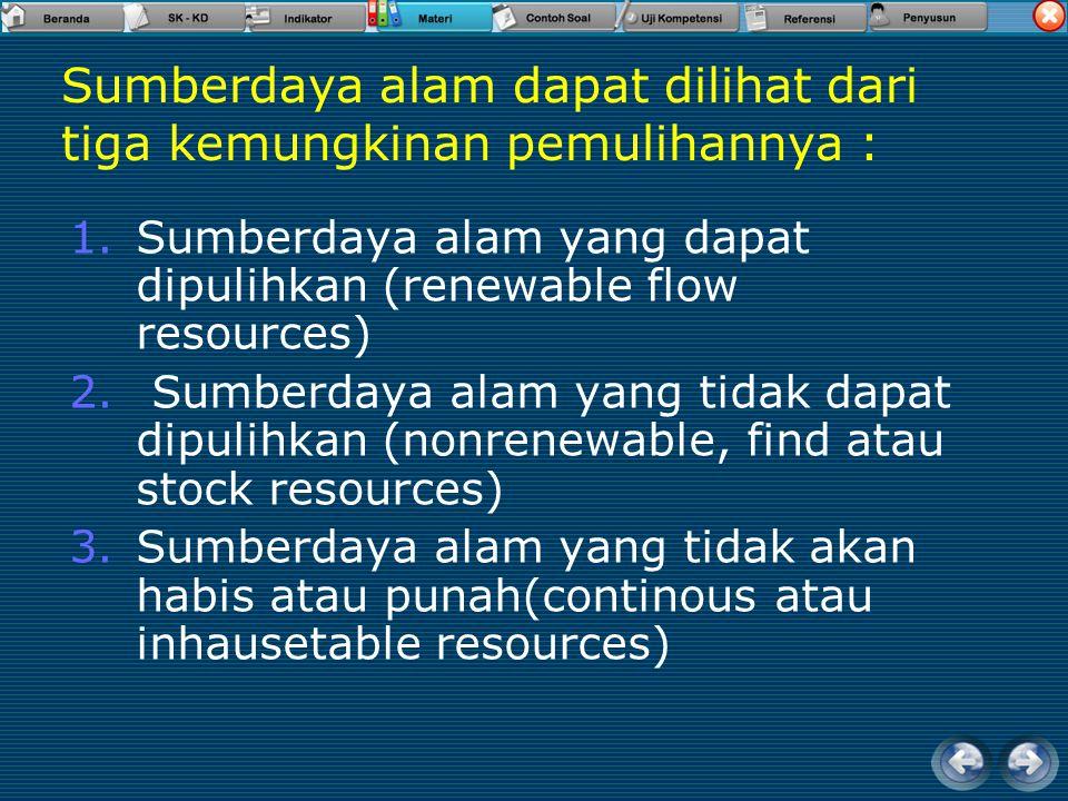 Sumberdaya alam dapat dilihat dari tiga kemungkinan pemulihannya : 1.Sumberdaya alam yang dapat dipulihkan (renewable flow resources) 2.