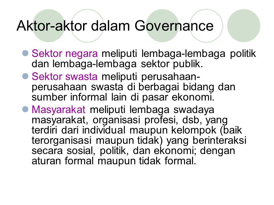 Aktor-aktor dalam Governance Sektor negara meliputi lembaga-lembaga politik dan lembaga-lembaga sektor publik.
