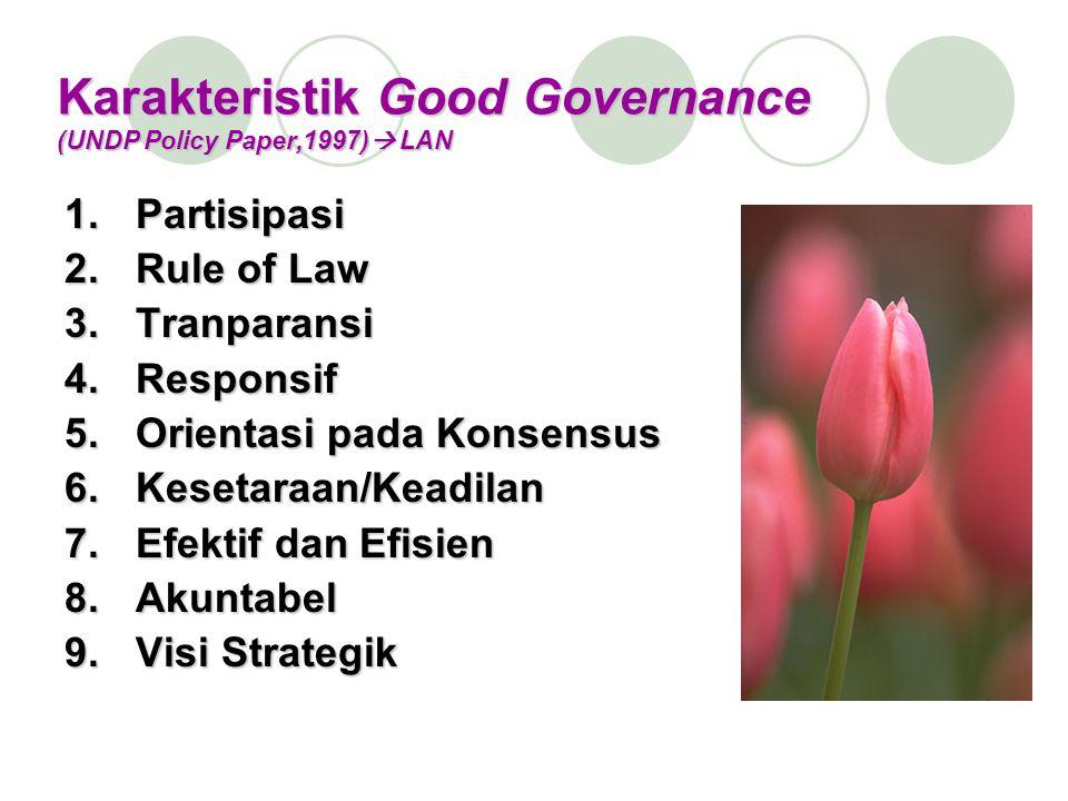 Karakteristik Good Governance (UNDP Policy Paper,1997)  LAN 1.Partisipasi 2.Rule of Law 3.Tranparansi 4.Responsif 5.Orientasi pada Konsensus 6.Kesetaraan/Keadilan 7.Efektif dan Efisien 8.Akuntabel 9.Visi Strategik