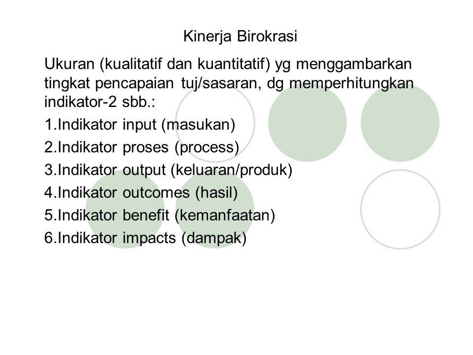 Kinerja Birokrasi Ukuran (kualitatif dan kuantitatif) yg menggambarkan tingkat pencapaian tuj/sasaran, dg memperhitungkan indikator-2 sbb.: 1.Indikator input (masukan) 2.Indikator proses (process) 3.Indikator output (keluaran/produk) 4.Indikator outcomes (hasil) 5.Indikator benefit (kemanfaatan) 6.Indikator impacts (dampak)
