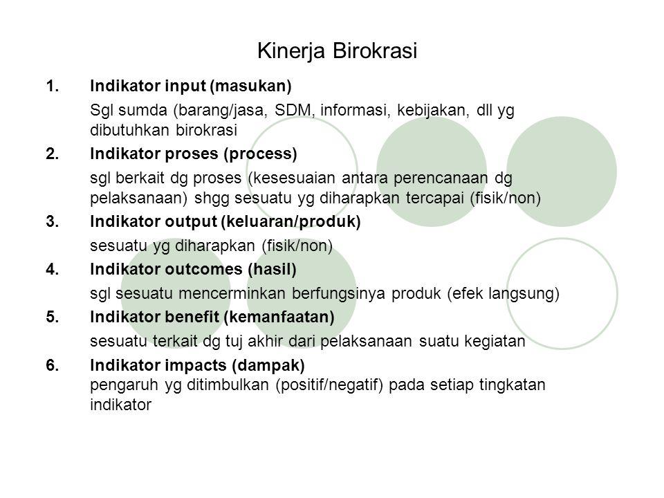 Kinerja Birokrasi 1.Indikator input (masukan) Sgl sumda (barang/jasa, SDM, informasi, kebijakan, dll yg dibutuhkan birokrasi 2.