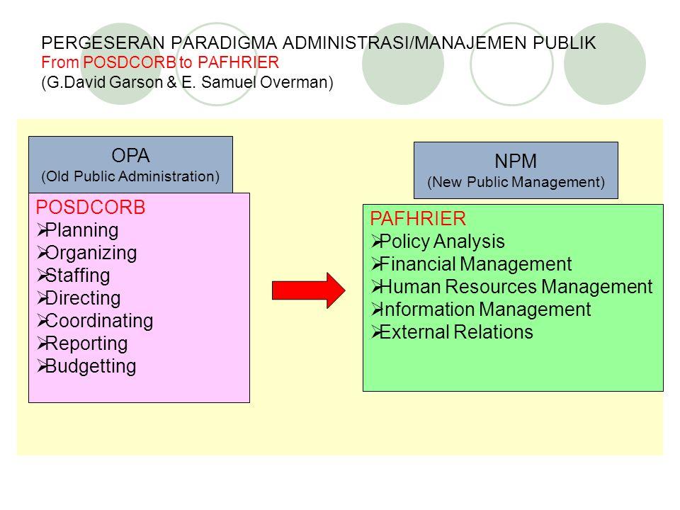 PERGESERAN PARADIGMA ADMINISTRASI/MANAJEMEN PUBLIK From POSDCORB to PAFHRIER (G.David Garson & E.