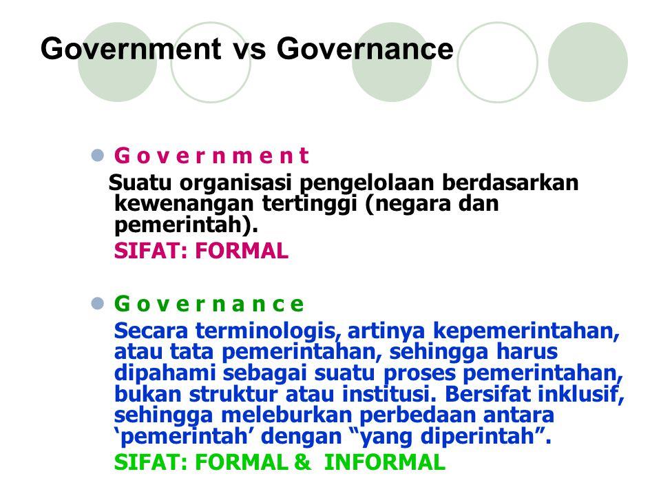 Government vs Governance G o v e r n m e n t Suatu organisasi pengelolaan berdasarkan kewenangan tertinggi (negara dan pemerintah).