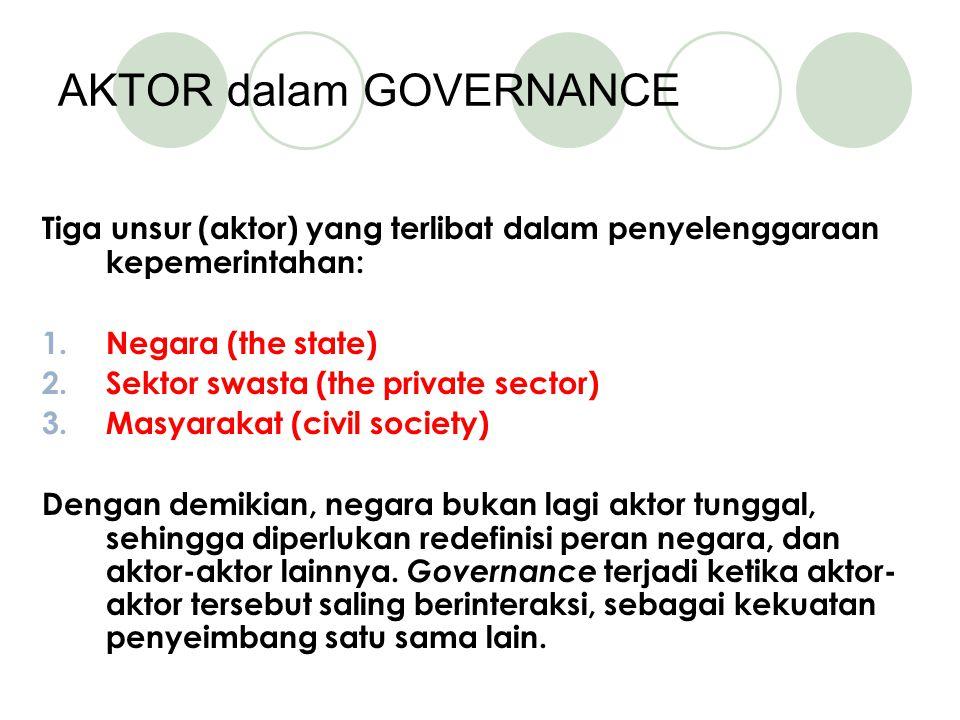 AKTOR dalam GOVERNANCE Tiga unsur (aktor) yang terlibat dalam penyelenggaraan kepemerintahan: 1.Negara (the state) 2.Sektor swasta (the private sector) 3.Masyarakat (civil society) Dengan demikian, negara bukan lagi aktor tunggal, sehingga diperlukan redefinisi peran negara, dan aktor-aktor lainnya.