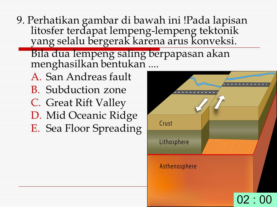 9. Perhatikan gambar di bawah ini !Pada lapisan litosfer terdapat lempeng-lempeng tektonik yang selalu bergerak karena arus konveksi. Bila dua lempeng