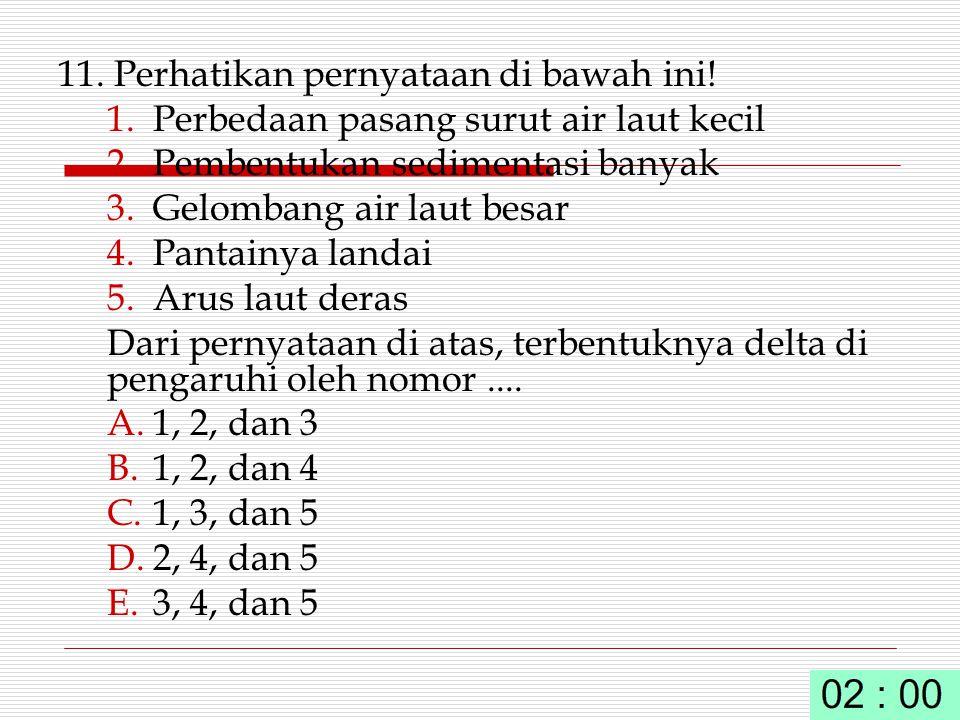 11. Perhatikan pernyataan di bawah ini! 1.Perbedaan pasang surut air laut kecil 2.Pembentukan sedimentasi banyak 3.Gelombang air laut besar 4.Pantainy