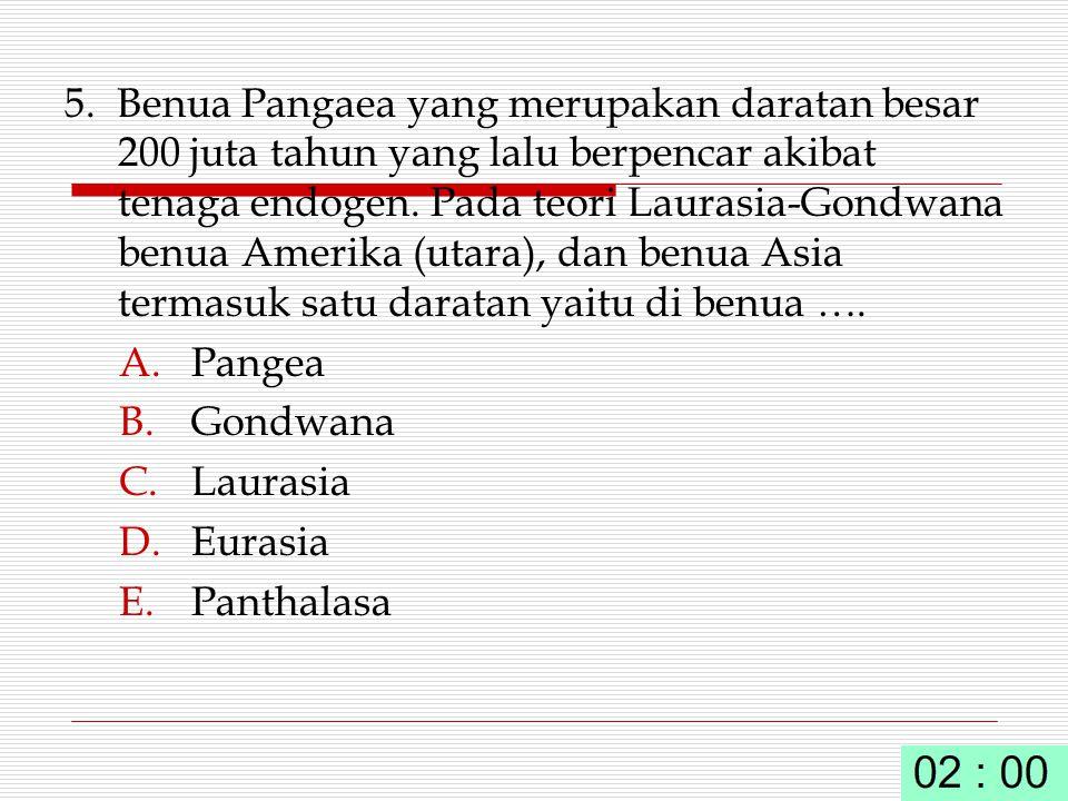 5. Benua Pangaea yang merupakan daratan besar 200 juta tahun yang lalu berpencar akibat tenaga endogen. Pada teori Laurasia-Gondwana benua Amerika (ut
