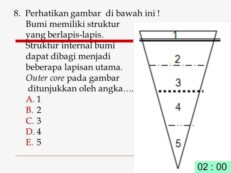 8. Perhatikan gambar di bawah ini ! Bumi memiliki struktur yang berlapis-lapis. Struktur internal bumi dapat dibagi menjadi beberapa lapisan utama. Ou