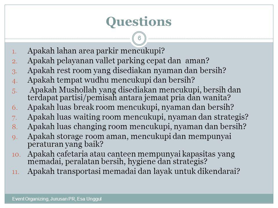 Questions 1.Apakah lahan area parkir mencukupi. 2.