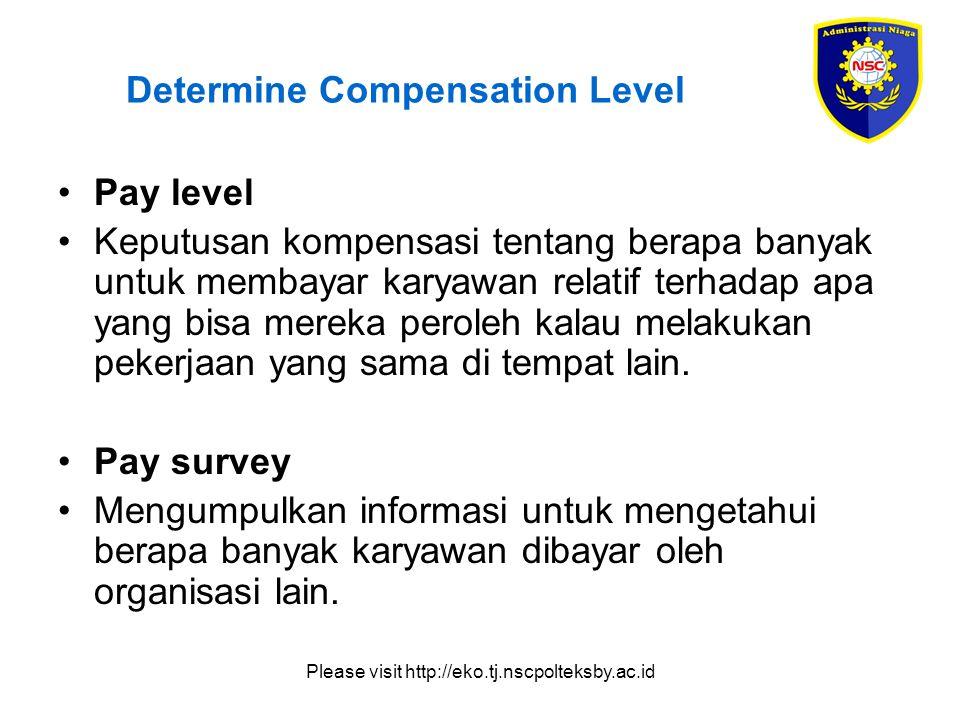Please visit http://eko.tj.nscpolteksby.ac.id Determine Compensation Level Pay level Keputusan kompensasi tentang berapa banyak untuk membayar karyawan relatif terhadap apa yang bisa mereka peroleh kalau melakukan pekerjaan yang sama di tempat lain.