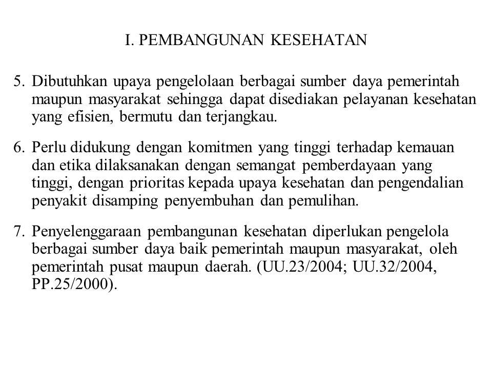 I. PEMBANGUNAN KESEHATAN 5.Dibutuhkan upaya pengelolaan berbagai sumber daya pemerintah maupun masyarakat sehingga dapat disediakan pelayanan kesehata