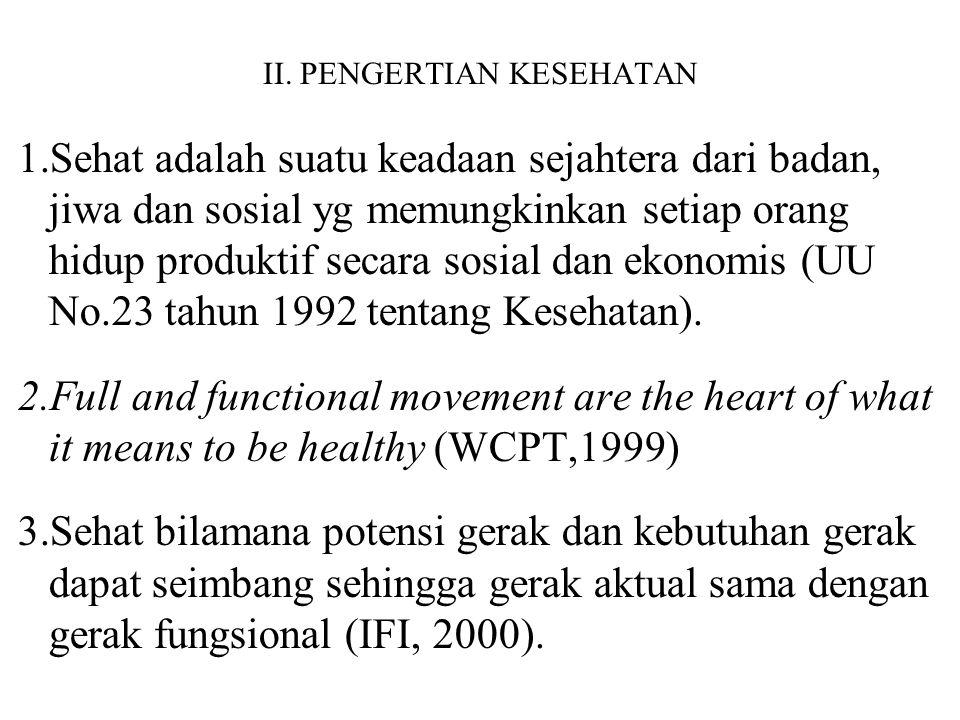 II. PENGERTIAN KESEHATAN 1.Sehat adalah suatu keadaan sejahtera dari badan, jiwa dan sosial yg memungkinkan setiap orang hidup produktif secara sosial