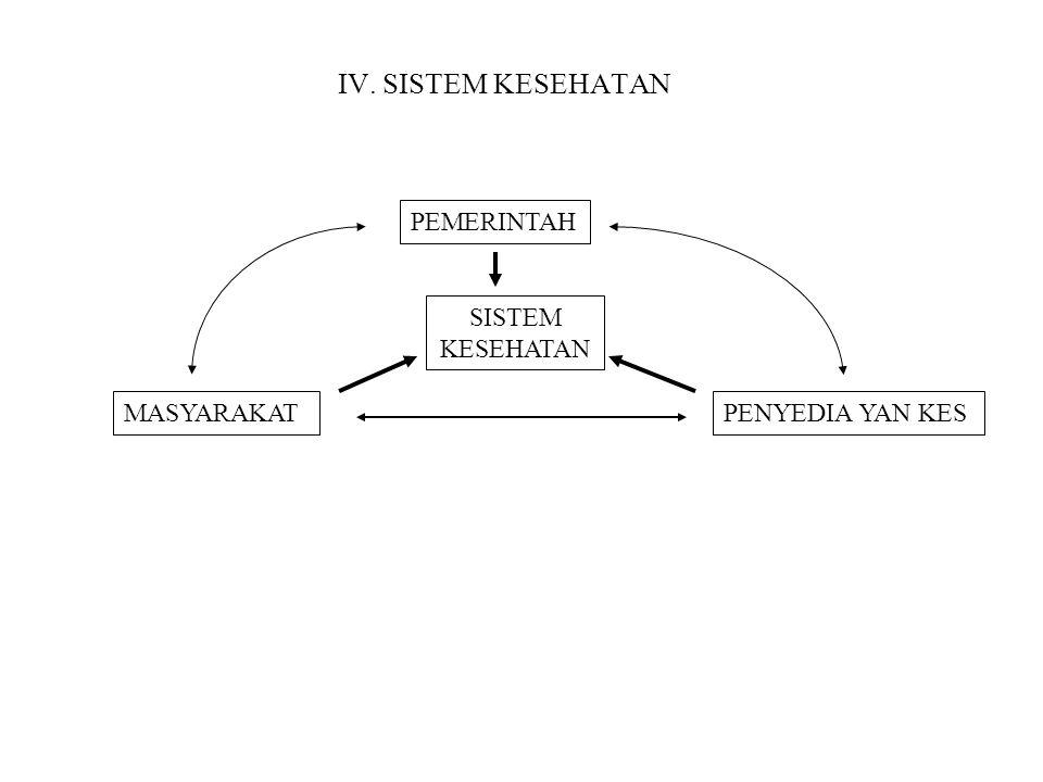 IV. SISTEM KESEHATAN PEMERINTAH SISTEM KESEHATAN PENYEDIA YAN KESMASYARAKAT