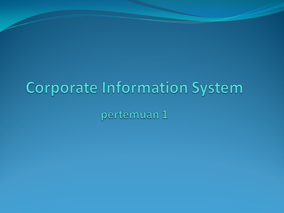 CORPORATE INFORMATION SYSTEM .