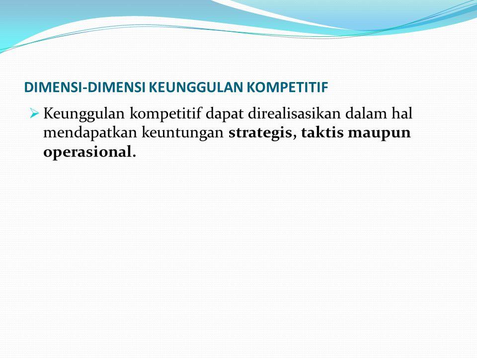 DIMENSI-DIMENSI KEUNGGULAN KOMPETITIF  Keunggulan kompetitif dapat direalisasikan dalam hal mendapatkan keuntungan strategis, taktis maupun operasional.