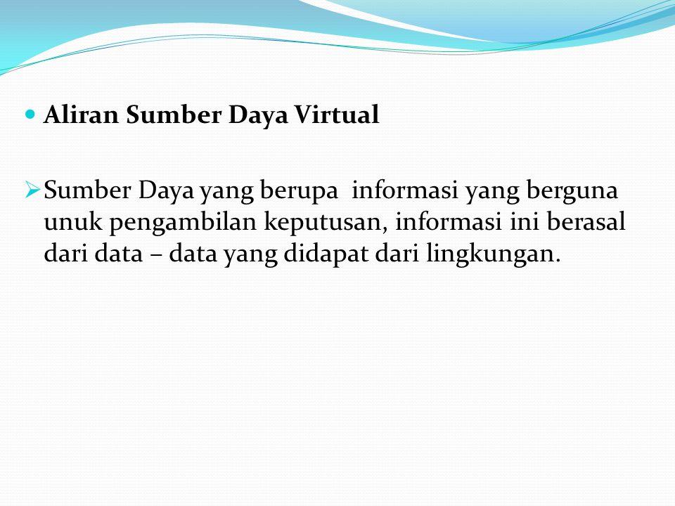 Aliran Sumber Daya Virtual  Sumber Daya yang berupa informasi yang berguna unuk pengambilan keputusan, informasi ini berasal dari data – data yang didapat dari lingkungan.