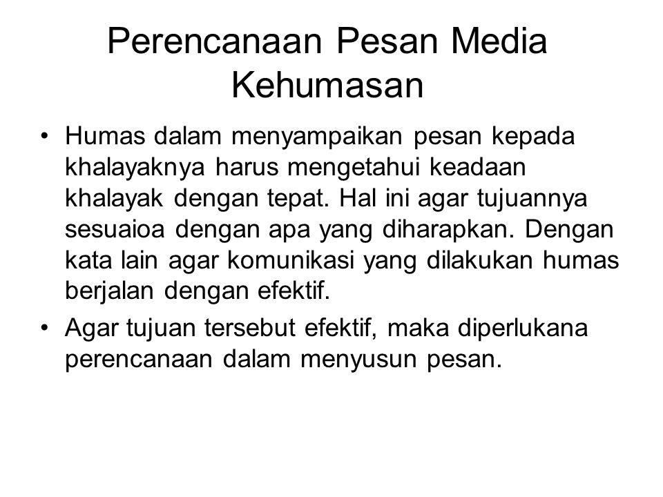 Perencanaan Pesan Media Kehumasan Humas dalam menyampaikan pesan kepada khalayaknya harus mengetahui keadaan khalayak dengan tepat. Hal ini agar tujua