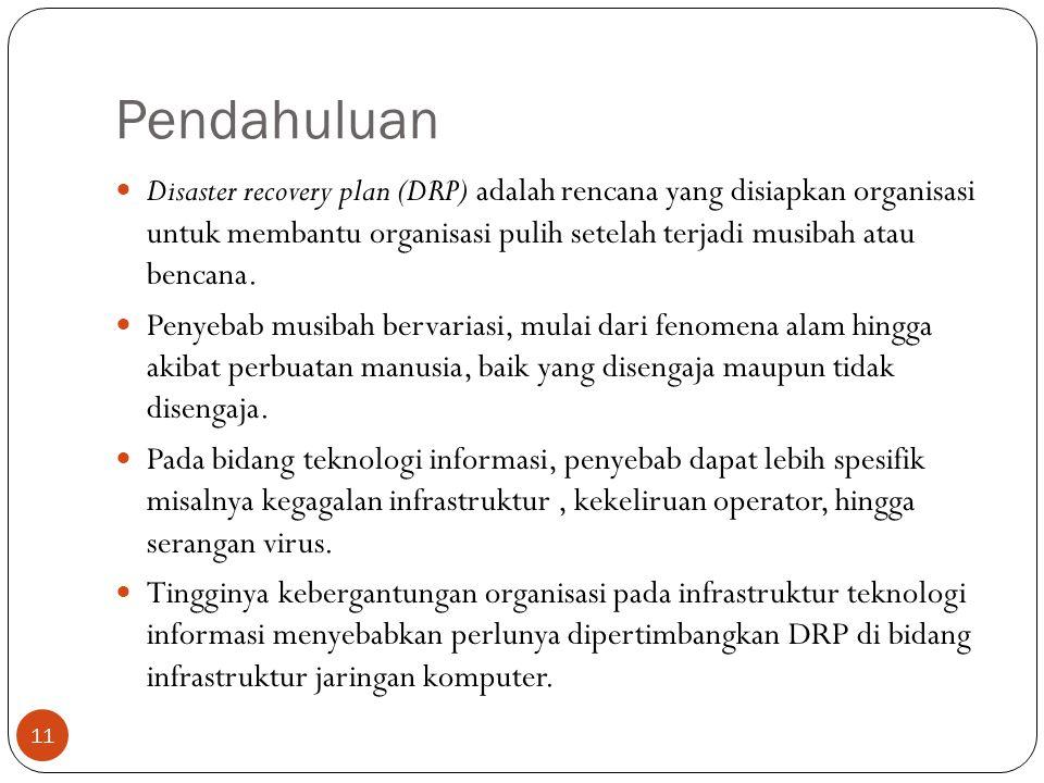 Pendahuluan Disaster recovery plan (DRP) adalah rencana yang disiapkan organisasi untuk membantu organisasi pulih setelah terjadi musibah atau bencana