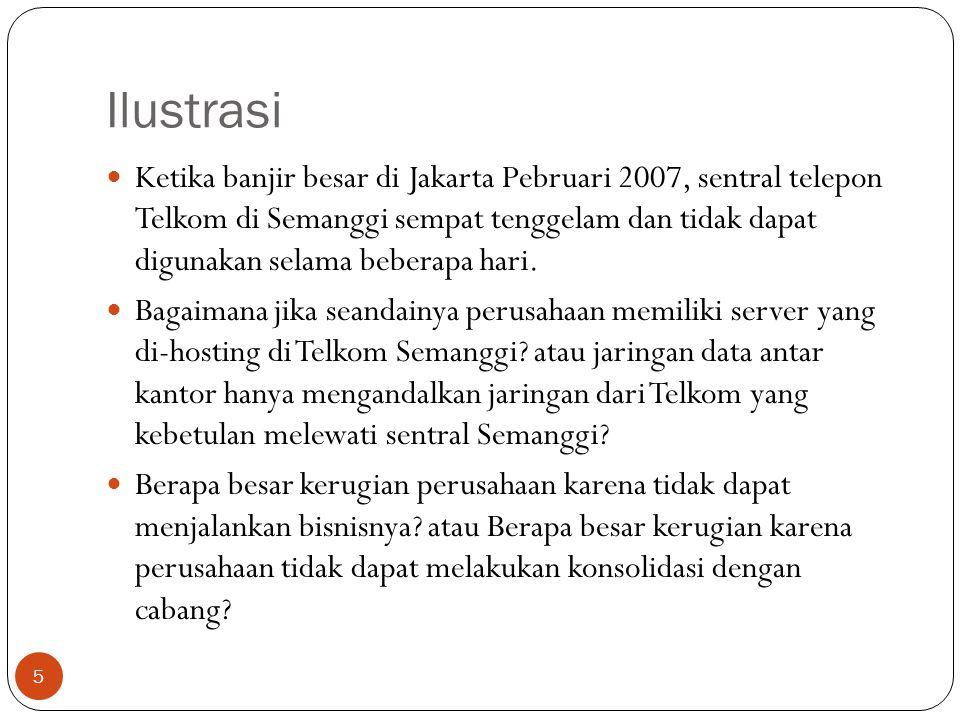 Ilustrasi Ketika banjir besar di Jakarta Pebruari 2007, sentral telepon Telkom di Semanggi sempat tenggelam dan tidak dapat digunakan selama beberapa