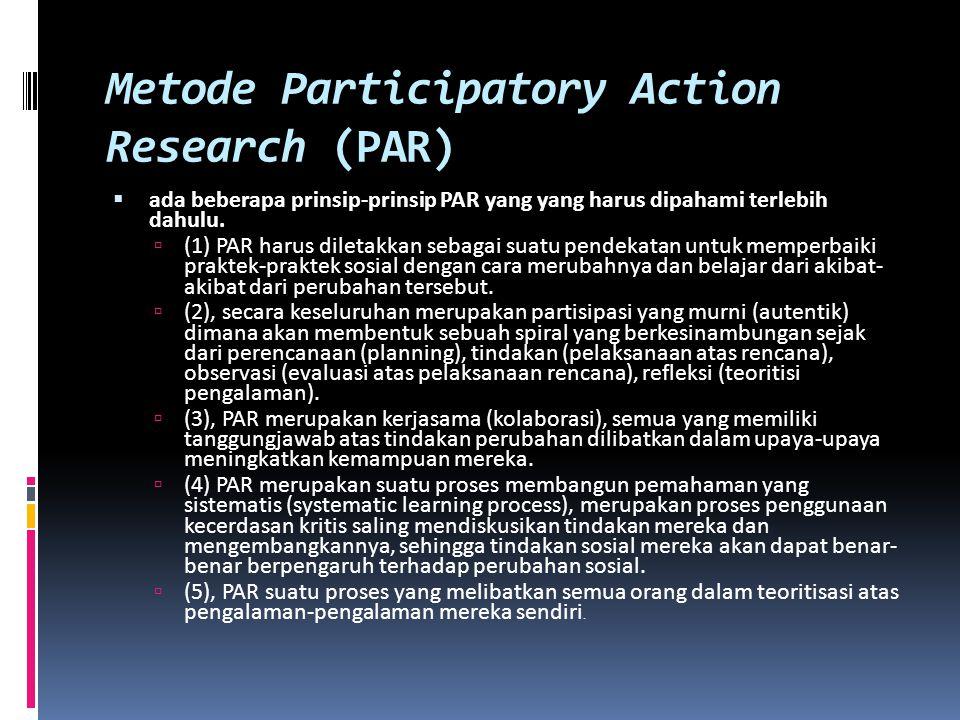 Metode Participatory Action Research (PAR)  ada beberapa prinsip-prinsip PAR yang yang harus dipahami terlebih dahulu.  (1) PAR harus diletakkan seb