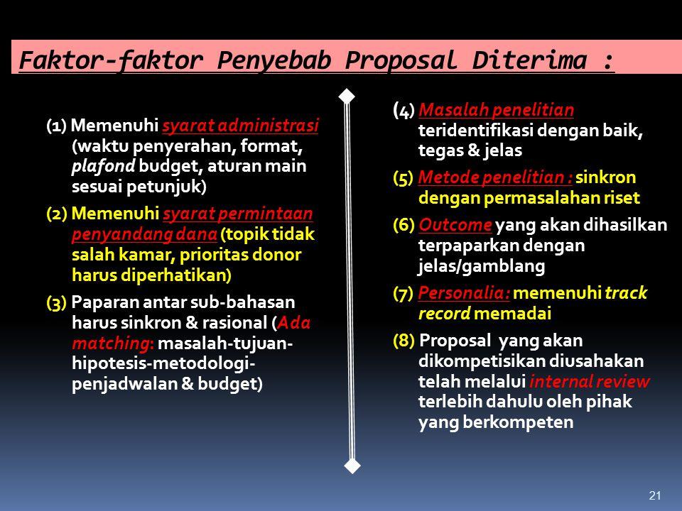 Faktor-faktor Penyebab Proposal Diterima : (1) Memenuhi syarat administrasi (waktu penyerahan, format, plafond budget, aturan main sesuai petunjuk) (2