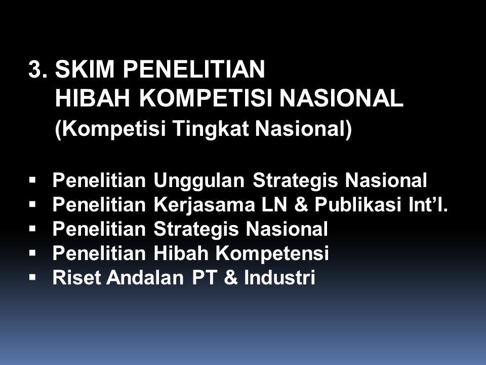 3. SKIM PENELITIAN HIBAH KOMPETISI NASIONAL (Kompetisi Tingkat Nasional)  Penelitian Unggulan Strategis Nasional  Penelitian Kerjasama LN & Publikas