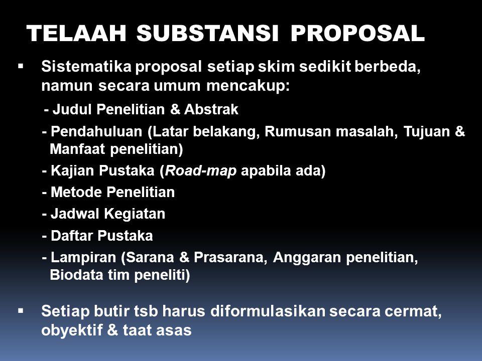 TELAAH SUBSTANSI PROPOSAL  Sistematika proposal setiap skim sedikit berbeda, namun secara umum mencakup: - Judul Penelitian & Abstrak - Pendahuluan (