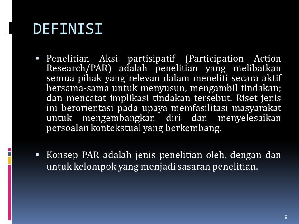 DEFINISI  Penelitian Aksi partisipatif (Participation Action Research/PAR) adalah penelitian yang melibatkan semua pihak yang relevan dalam meneliti