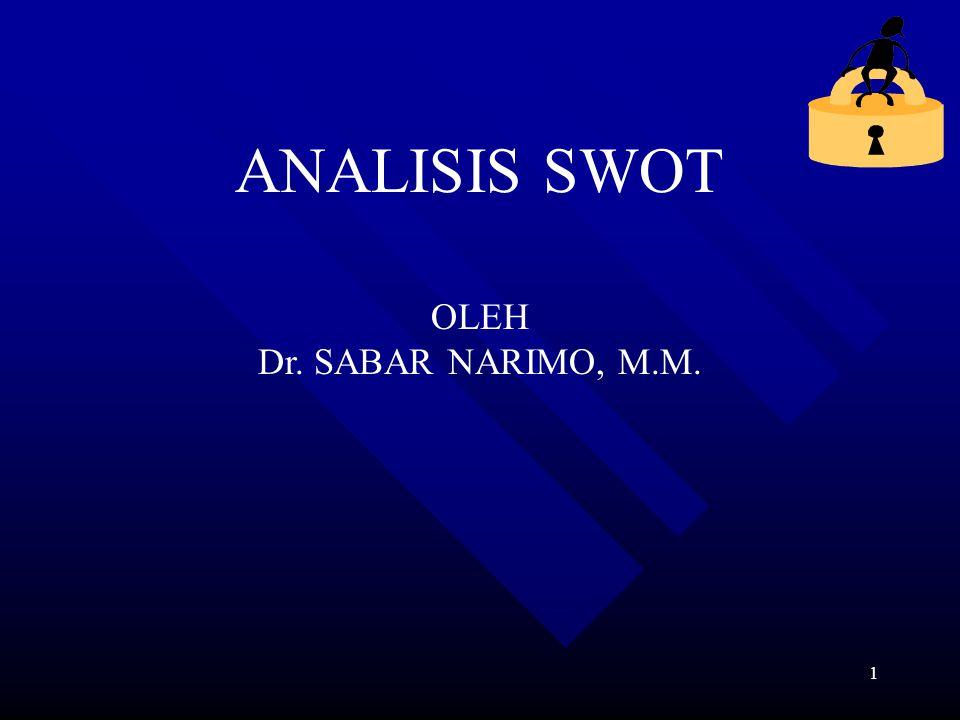 1 ANALISIS SWOT OLEH Dr. SABAR NARIMO, M.M.