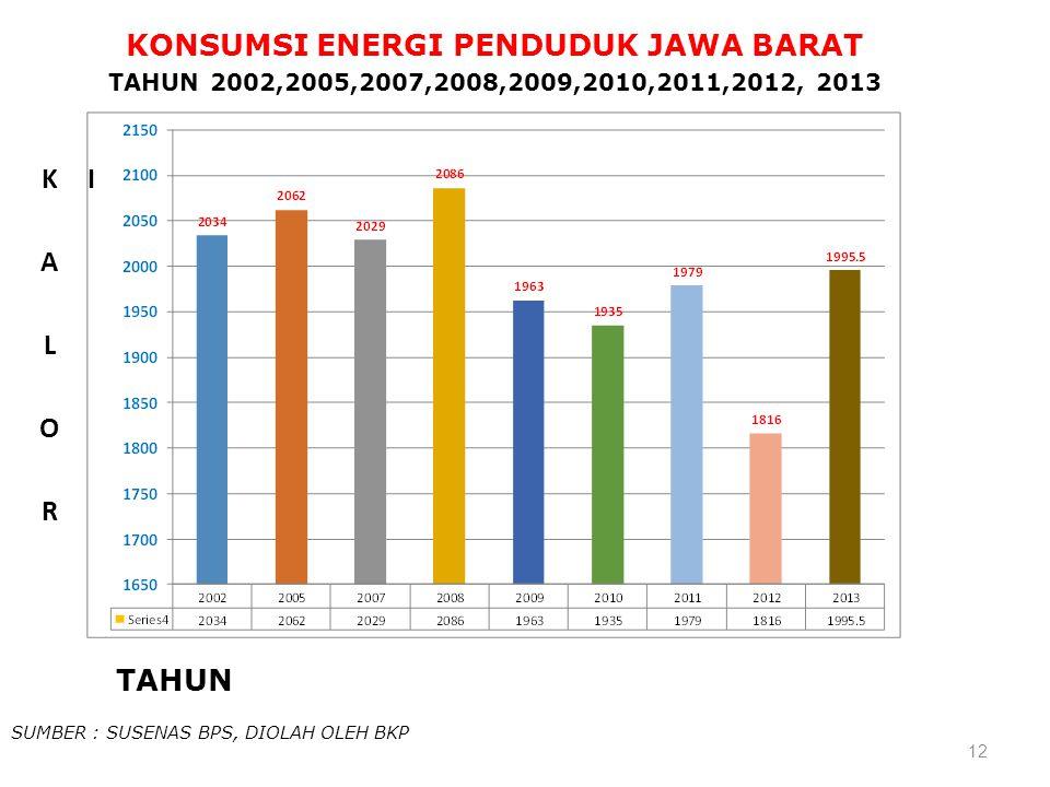 12 TAHUN KONSUMSI ENERGI PENDUDUK JAWA BARAT TAHUN 2002,2005,2007,2008,2009,2010,2011,2012, 2013 SUMBER : SUSENAS BPS, DIOLAH OLEH BKP