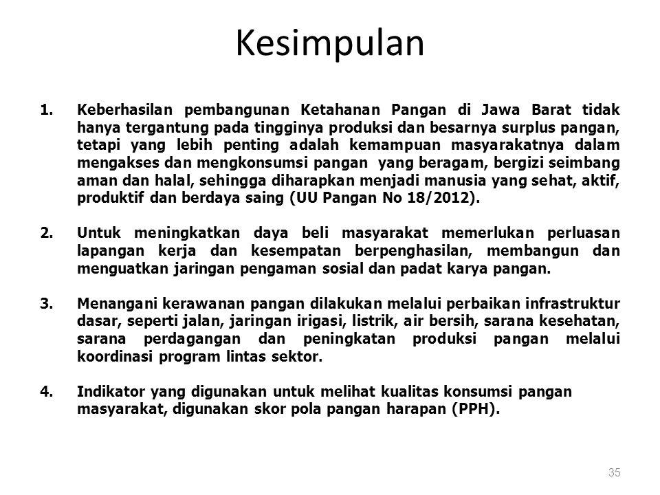 Kesimpulan 35 1.Keberhasilan pembangunan Ketahanan Pangan di Jawa Barat tidak hanya tergantung pada tingginya produksi dan besarnya surplus pangan, tetapi yang lebih penting adalah kemampuan masyarakatnya dalam mengakses dan mengkonsumsi pangan yang beragam, bergizi seimbang aman dan halal, sehingga diharapkan menjadi manusia yang sehat, aktif, produktif dan berdaya saing (UU Pangan No 18/2012).