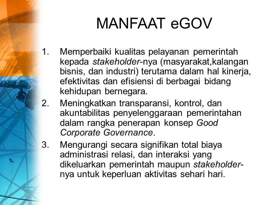 MANFAAT eGOV (cont.) 4.Memberikan peluang bagi pemerintah untuk mendapatkan sumber-sumber pendapatan baru melalui interaksinya dengan pihak-pihak yang berkepentingan.