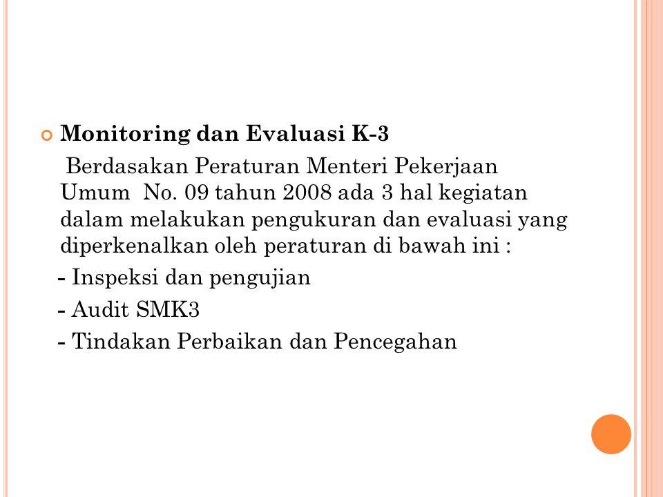 Monitoring dan Evaluasi K-3 Berdasakan Peraturan Menteri Pekerjaan Umum No. 09 tahun 2008 ada 3 hal kegiatan dalam melakukan pengukuran dan evaluasi y
