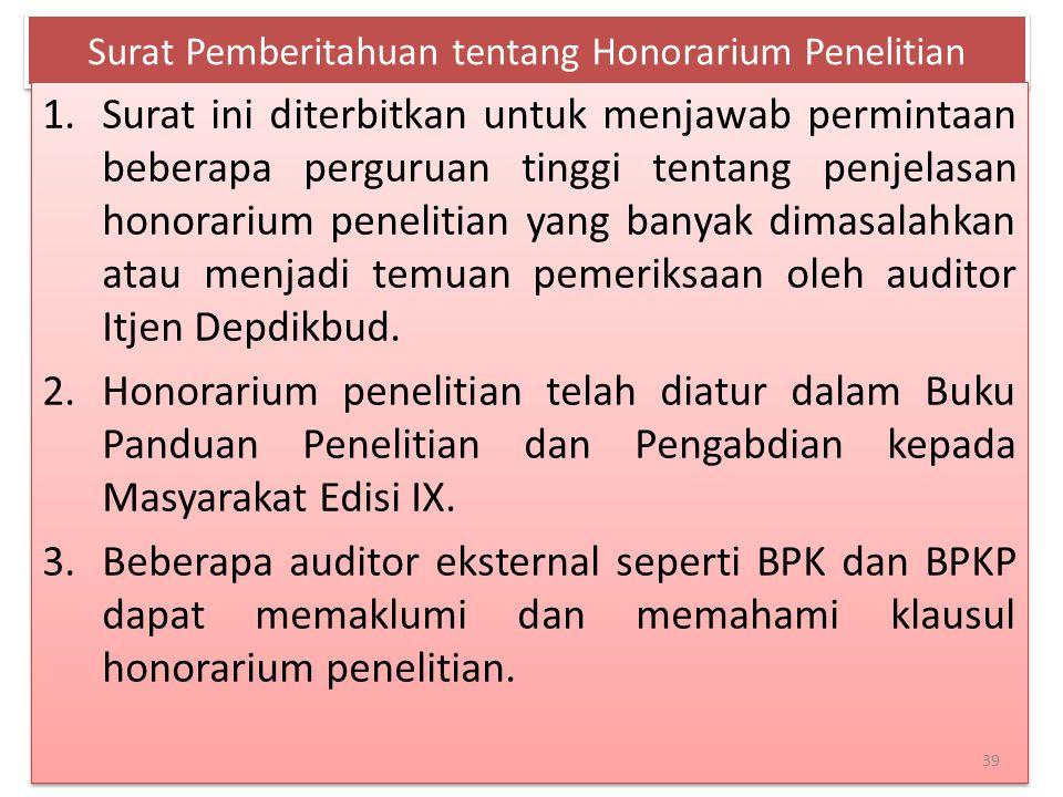 Surat Pemberitahuan tentang Honorarium Penelitian 1.Surat ini diterbitkan untuk menjawab permintaan beberapa perguruan tinggi tentang penjelasan honor