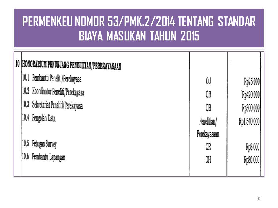 PERMENKEU NOMOR 53/PMK.2/2014 TENTANG STANDAR BIAYA MASUKAN TAHUN 2015 43