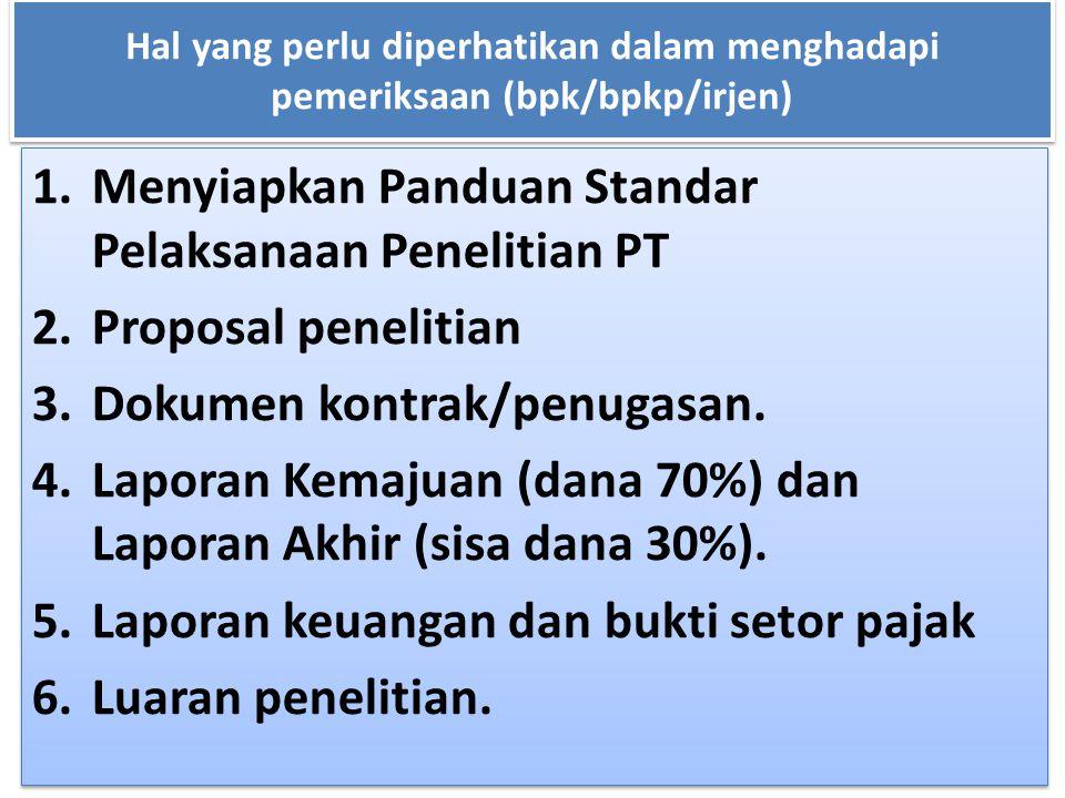 Hal yang perlu diperhatikan dalam menghadapi pemeriksaan (bpk/bpkp/irjen) 1.Menyiapkan Panduan Standar Pelaksanaan Penelitian PT 2.Proposal penelitian