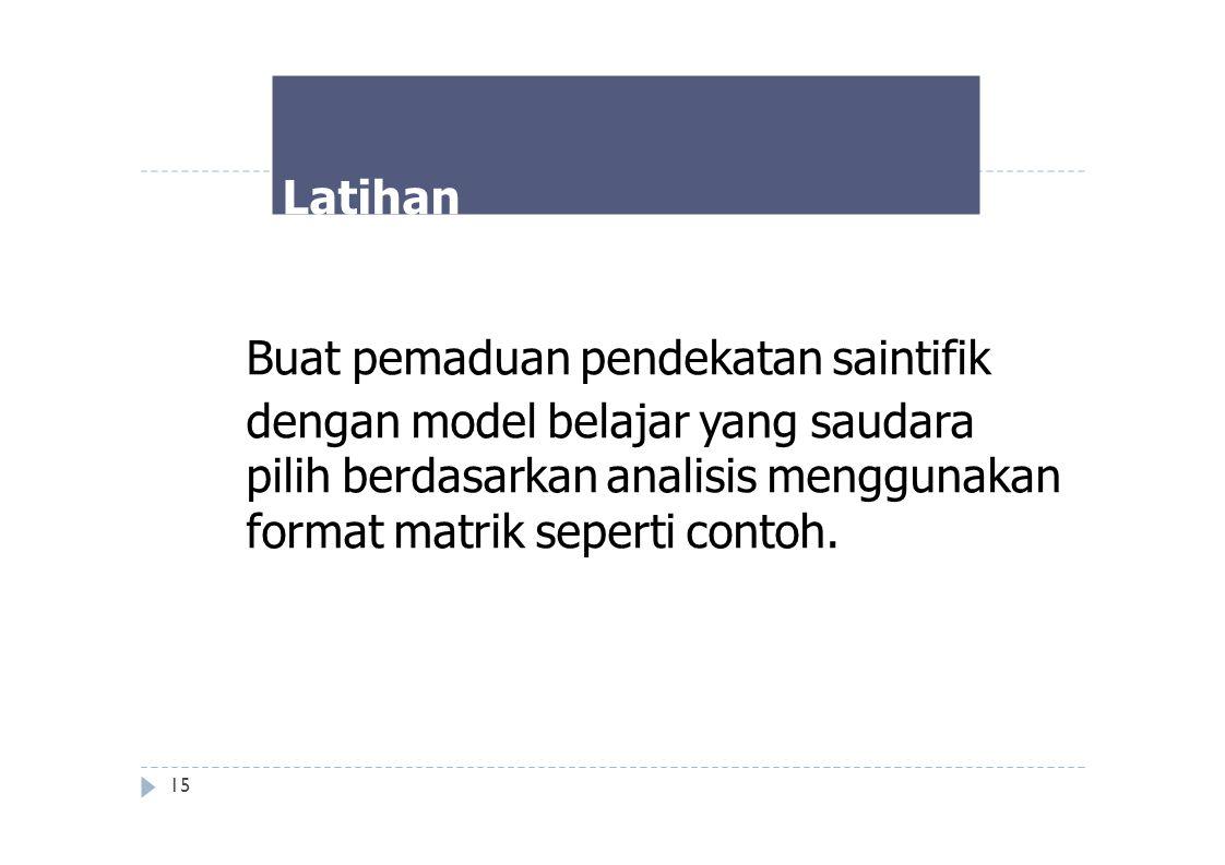 Latihan Buat pemaduan pendekatan saintifik dengan model belajar yang saudara pilih berdasarkan analisis menggunakan format matrik seperti contoh. 15