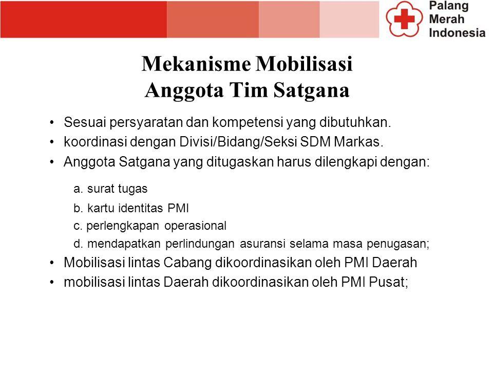 Mekanisme Mobilisasi Anggota Tim Satgana Sesuai persyaratan dan kompetensi yang dibutuhkan. koordinasi dengan Divisi/Bidang/Seksi SDM Markas. Anggota
