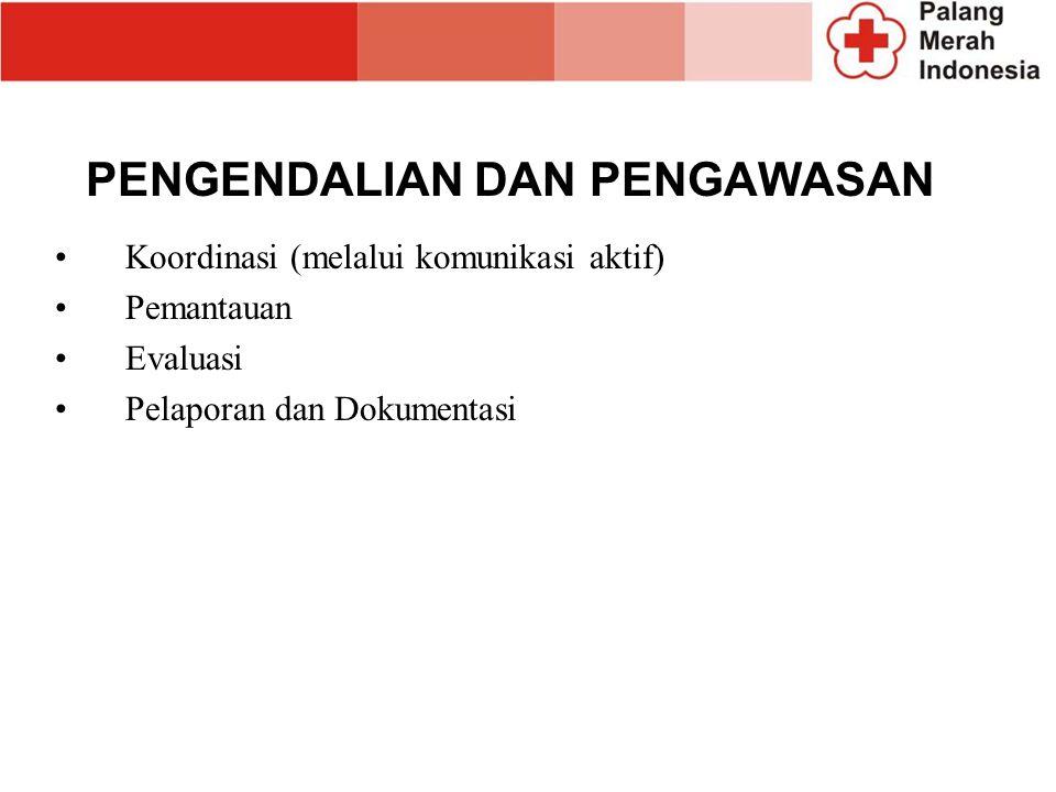 PENGENDALIAN DAN PENGAWASAN Koordinasi (melalui komunikasi aktif) Pemantauan Evaluasi Pelaporan dan Dokumentasi