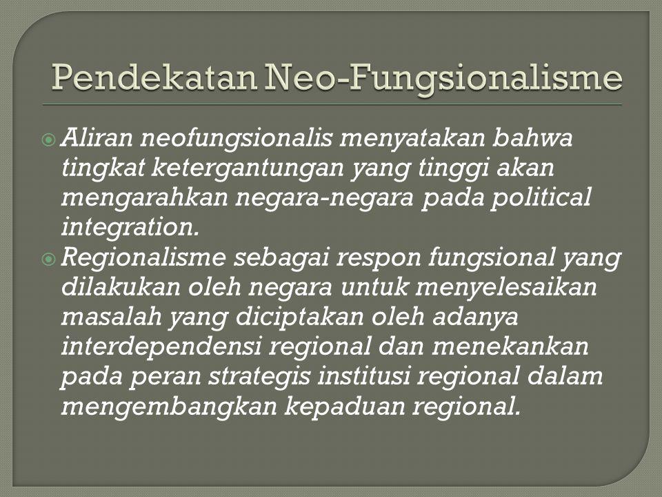  Aliran neofungsionalis menyatakan bahwa tingkat ketergantungan yang tinggi akan mengarahkan negara-negara pada political integration.  Regionalisme