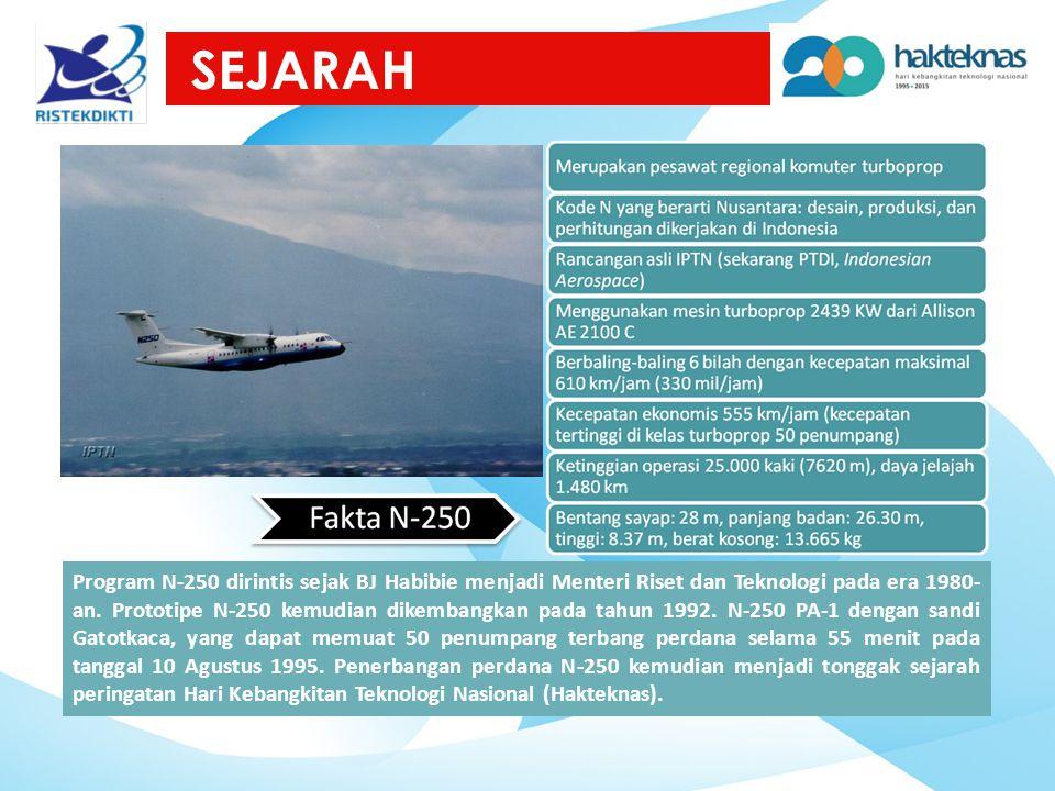 SEJARAH Program N-250 dirintis sejak BJ Habibie menjadi Menteri Riset dan Teknologi pada era 1980- an. Prototipe N-250 kemudian dikembangkan pada tahu