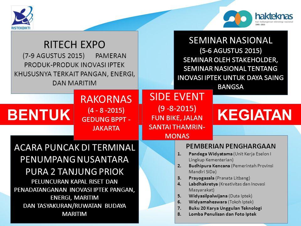 BENTUK KEGIATAN RITECH EXPO (7-9 AGUSTUS 2015) PAMERAN PRODUK-PRODUK INOVASI IPTEK KHUSUSNYA TERKAIT PANGAN, ENERGI, DAN MARITIM SEMINAR NASIONAL (5-6