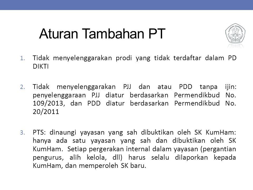 Aturan Tambahan PT 1. Tidak menyelenggarakan prodi yang tidak terdaftar dalam PD DIKTI 2. Tidak menyelenggarakan PJJ dan atau PDD tanpa ijin: penyelen