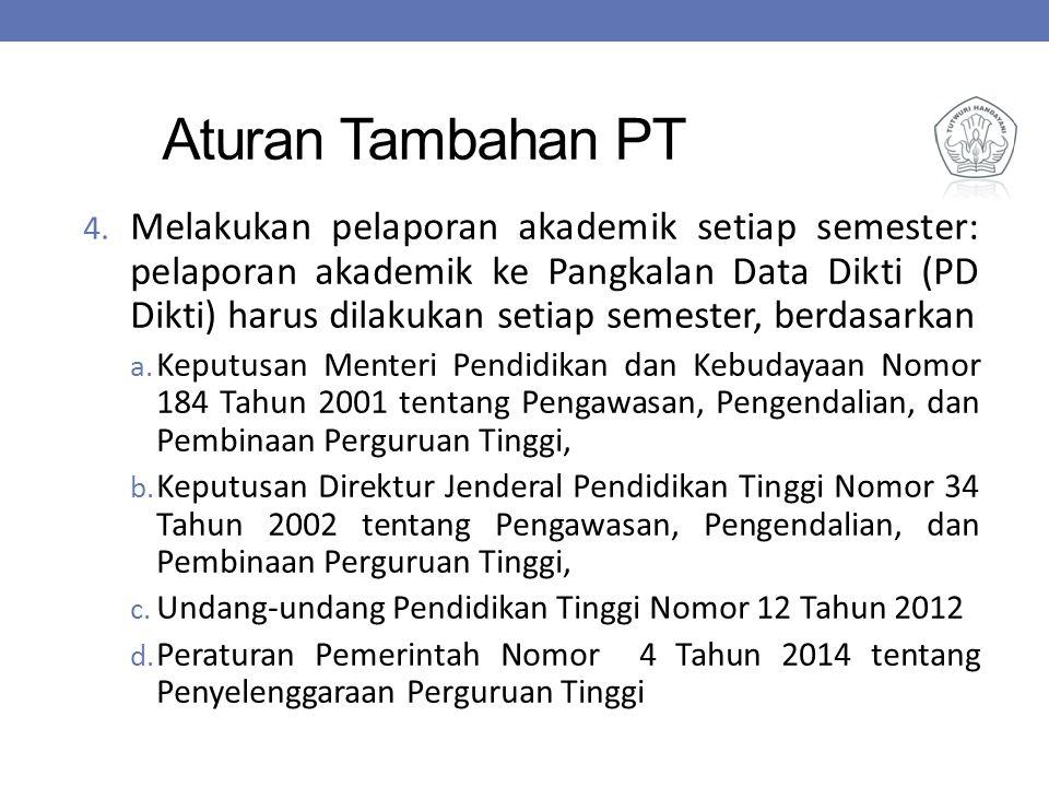Aturan Tambahan PT 4. Melakukan pelaporan akademik setiap semester: pelaporan akademik ke Pangkalan Data Dikti (PD Dikti) harus dilakukan setiap semes