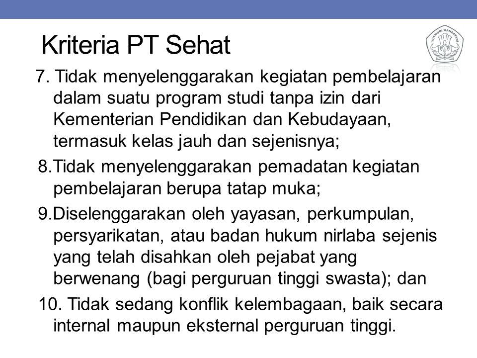 Kriteria PT Sehat 7. Tidak menyelenggarakan kegiatan pembelajaran dalam suatu program studi tanpa izin dari Kementerian Pendidikan dan Kebudayaan, ter