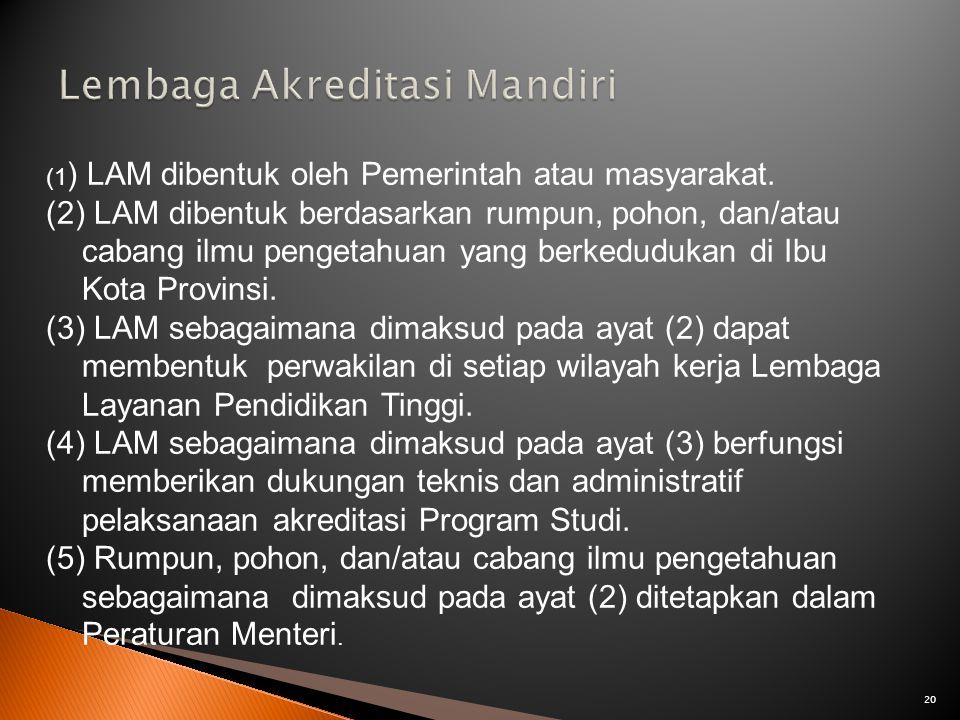 20 (1 ) LAM dibentuk oleh Pemerintah atau masyarakat. (2) LAM dibentuk berdasarkan rumpun, pohon, dan/atau cabang ilmu pengetahuan yang berkedudukan d